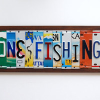 Gone Fishing - OOAK license plate art, Fishing Decor, Father's Day Gift, Valentines Day Gift, Christmas Gift, Engagement, Birthday Gift