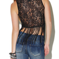 Sleeveless Lace Fringe Tank | Wet Seal
