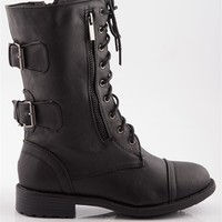 Riot Girl Retort Back Buckled Pebbled Combat Boots - Black