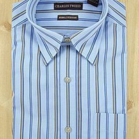 Charles Tweed Blue Stripe Dress Shirt