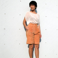 1980s vintage light orange suede leather shorts - avant garde - high waisted - xs / small