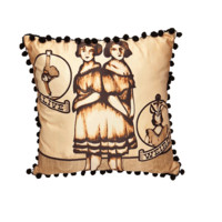 Conjoined Beauty Pillow In Tan/Multi | Thirteen Vintage