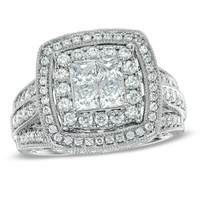 1-3/4 CT. T.W. Princess-Cut Quad Diamond Double Frame Engagement Ring in 14K White Gold