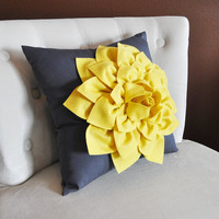 Mellow Yellow Dahlia Flower on Charcoal Gray Pillow Accent Pillow Throw Pillow Toss Pillow Decorative Pillow