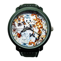Vintage Cat Watch, Men's Faux Leather Watch, Cat Watch