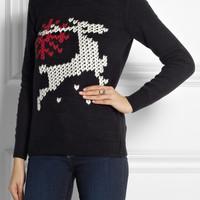 TIBI Reindeer-intarsia cotton-blend sweater