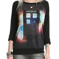 Doctor Who Space TARDIS Raglan Girls Pullover