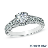 Celebration Grand™ 1-1/2 CT. T.W. Diamond Vintage-Style Engagement Ring in 14K White Gold (I/I1)
