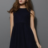 Open Back Skater Dress in Navy Blue