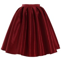 Wine Red A-line Midi Skirt