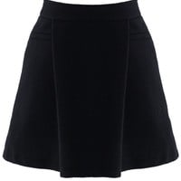 Black Wool-Felt Skater Skirt