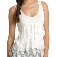 Lace Tiered Tank - Teen Clothing by Wet Seal