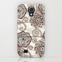 Coffee & Cocoa - brown & cream floral doodles on wood iPhone & iPod Case by micklyn