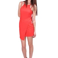 On the Edge Dress in Coral - Haute Miss