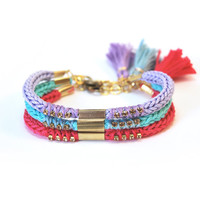 Set of three bracelets - choose your colors, stacking bracelets, knit bracelet with tassel, friendship bracelets