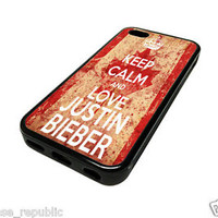 Apple iPhone 5C Case Skin Cover Vintage Hipster Keep Calm Love Justin Bieber