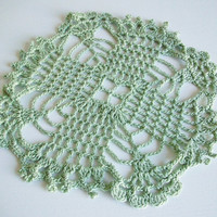 Light Green Crochet Doily Table Topper Green 7 1/2x7 1/2 Handmade Crochet Motif Retro Boho Beach