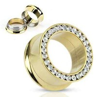Gold Plated Screw fit double flare tunnel with cz gems (6g to 1inch)