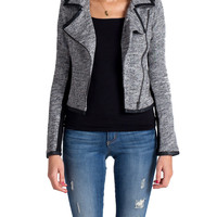 Lush Clothing -Heathered Biker Jacket