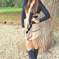Let's Run Away Cardigan: Black/Tan