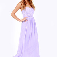 LULUS Exclusive Slow Dance Strapless Lavender Maxi Dress