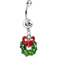 Crystalline Gem Merry Christmas Wreath Dangle Belly Ring   Body Candy Body Jewelry