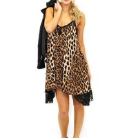 Cheetah Print Sleeveless Dress with Black Lace Trim Detail