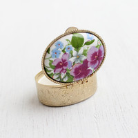 Vintage Floral Pill Box - 1960s Gold Tone Filigree Mid Century Colorful Case / Medicine Storage Box