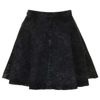 MOTO Black Acid Denim Skirt