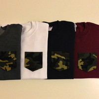 Unisex Custom Patch Pocket Crew Neck Sweatshirt- Camo Print from EEHCUOY
