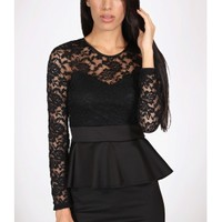 The Black Sleeve Peplum Dress - 29 N Under