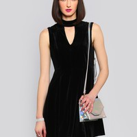 VELVET VOYEUR SKATER DRESS