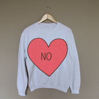 No Heart - White Crewneck Sweatshirt /