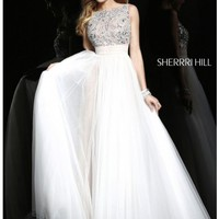 Sherri Hill 11022 White Dress for $650: Long, High Neck