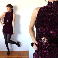 60's Sparkle Velvet XS Mini Dress Metallic Purple Holiday Shimmery Cocktail Tunic
