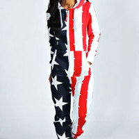 Una USA Flag Hooded Onesuit