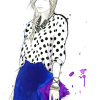 Watercolor and Pen Fashion Illustration - Girl About Town print