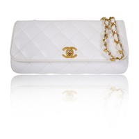 Chanel White Caviar Leather Cross Body Flap Bag - Rare