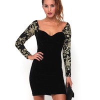 Motel Nicola Velvet Bodycon Dress in Black and Gold