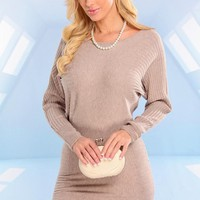 Taupe Long Sleeve Ribbed Sweater Dress