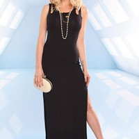 Black Maxi Dress with Double Straps and Slit Skirt