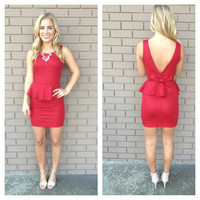 Red Velma Bow Back Peplum Dress