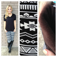 Black & White Aztec Fur Leggings