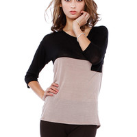 CONTRAST POCKET KNIT TOP