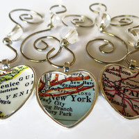 Map Ornament Heart Shaped, Custom Map Ornaments personalized with your favorite location for Christmas
