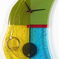 Mondrion Art Glass Pendulum Clock by Nina Cambron: Art Glass Clock | Artful Home