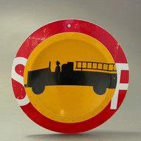 Fire Truck D P W Platter by Boris Bally: Metal Wall Art | Artful Home