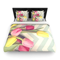 "Catherine McDonald ""Tulips and Chevrons"" Duvet Cover BLACK FRIDAY SALE 40% OFF RETAIL"