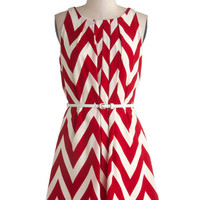 ModCloth Sleeveless A-line Great Wavelengths Dress in Red