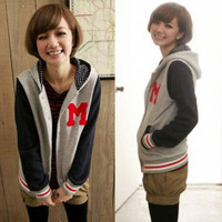 Cute Trendy Women Hoodies Sweats Hooded Outerwear Baseball Jersey Stylish 834685